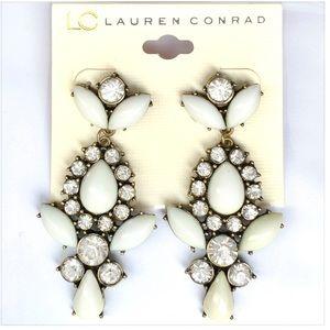 🆕 LC White Black Rhinestone Teardrop Earrings NWT